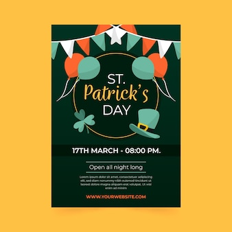Hand drawn st. patrick's day flyer with balloons