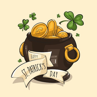 Hand drawn st. patrick's day gold pot