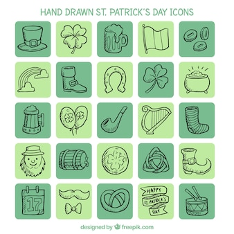 Hand drawn st. patrick's day icons