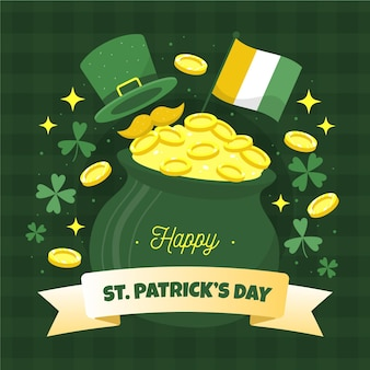 Hand drawn st. patrick's day illustration with cauldron of coins