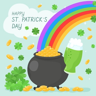 Hand-drawn st. patrick's day illustration with cauldron and rainbow