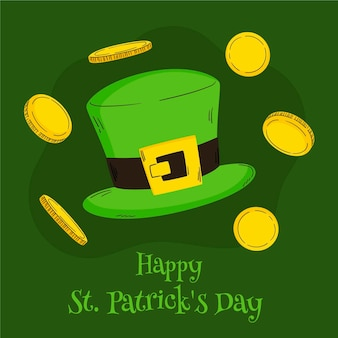 Hand-drawn st. patrick's day illustration with coins and hat