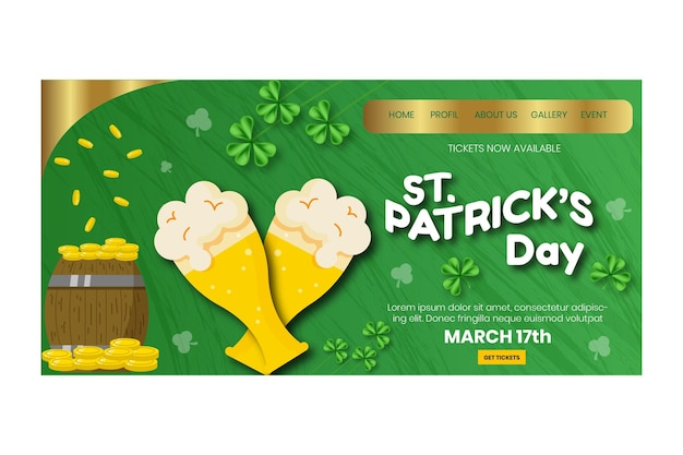 Hand-drawn st. patrick's day landing page template with beer and coins