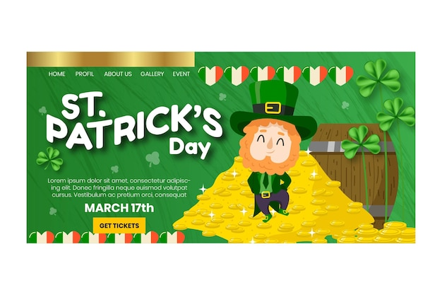 Hand-drawn st. patrick's day landing page template with man and coins Free Vector