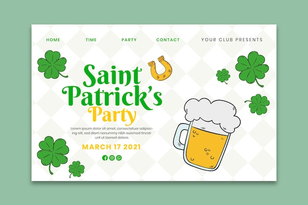 Hand-drawn st. patrick's day landing page template
