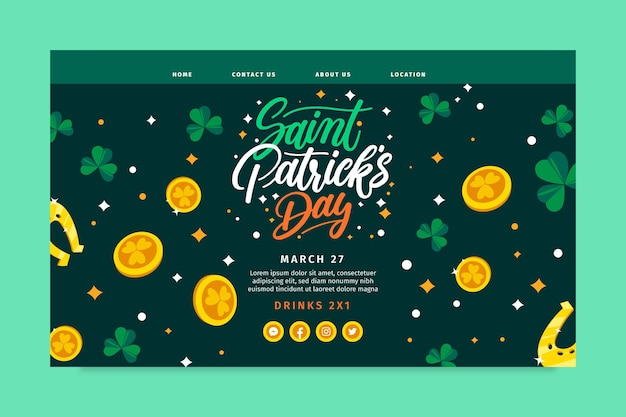 Hand drawn st. patrick's day landing page