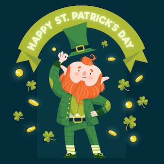 Hand drawn st. patrick's day leprechaun