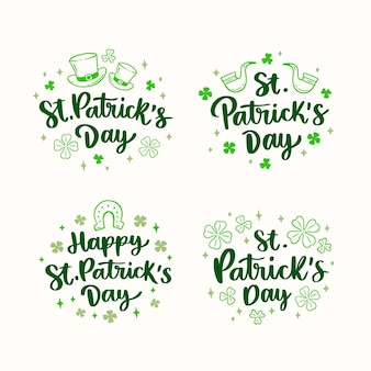 Hand drawn st. patrick's day lettering labels
