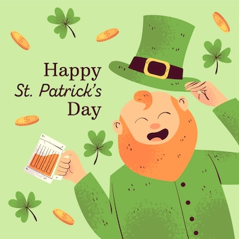 Hand drawn st. patrick's day man surrounded by clovers and money
