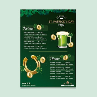 Hand drawn st. patrick's day restaurant menu