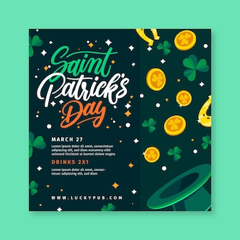 Hand drawn st. patrick's day square flyer template