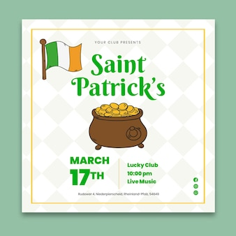 Hand-drawn st. patrick's day square flyer  template