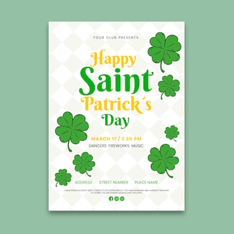 Hand-drawn st. patrick's day vertical flyer template