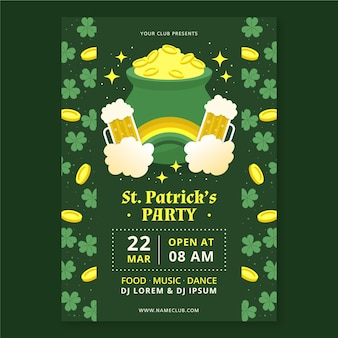 Hand drawn st. patrick's day vertical poster template
