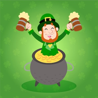 Hand drawn st. patrick's day with man holding beers in cauldron