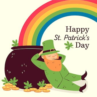 Hand drawn st. patrick's day with rainbow