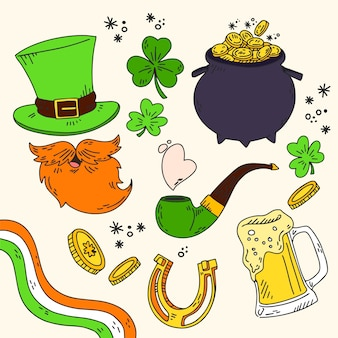 Hand-drawn st. patricks day badge collection
