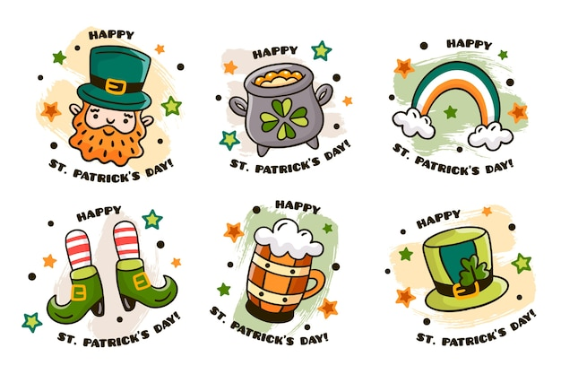 Hand drawn st patricks day badge collection