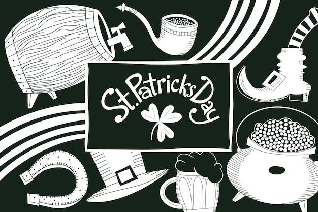 Hand drawn st. patricks day design template. leprechaun hat, clover, beer mug, barrel, golden coin pot illustrations.