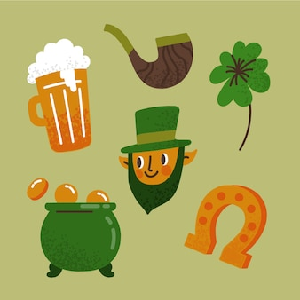 Hand drawn st. patricks day element collection