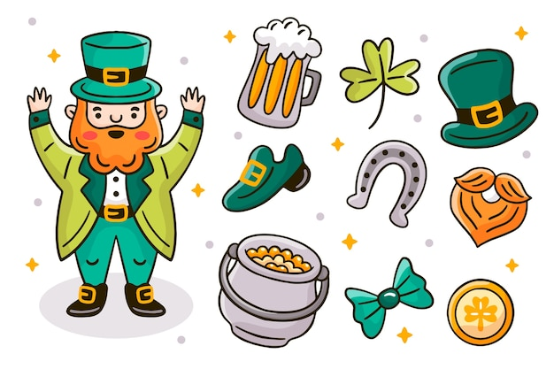 Hand drawn st patricks day element collection