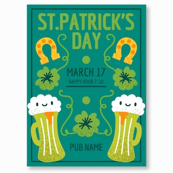 Hand drawn st. patricks day flyer template