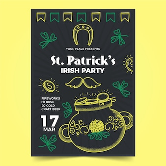 Hand-drawn st. patricks day flyer template