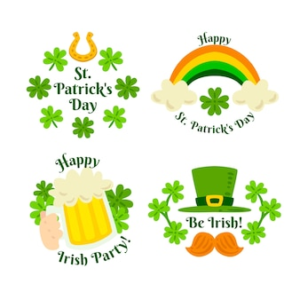 Hand-drawn st. patricks day label collection concept