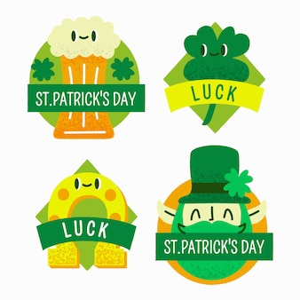Hand drawn st. patricks day label collection