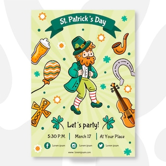 Hand drawn st patricks day poster template