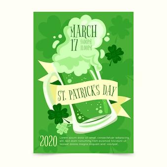St disegnata a mano poster del giorno di patricks