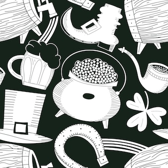 Hand drawn st. patricks day seamless pattern. leprechaun hat, clover, beer mug, barrel, golden coin pot illustration.
