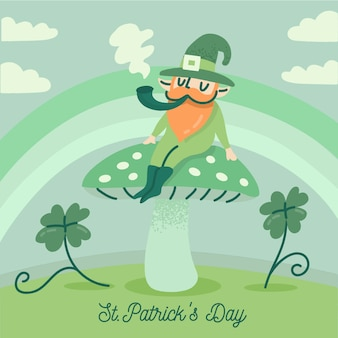 Hand drawn st. patricks day with man and pipe