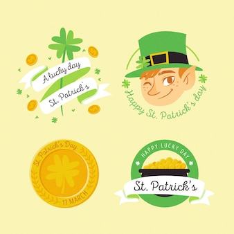 Hand-drawn st. patricks event theme for badge collection