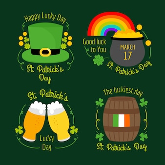 Hand-drawn st. patricks event theme for label collection