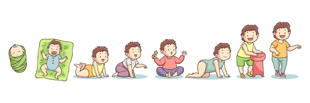 Hand drawn stages of a baby boy illustration
