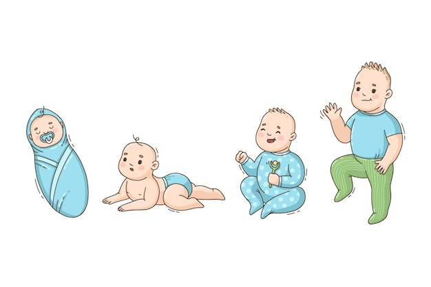 Hand drawn stages of a baby boy