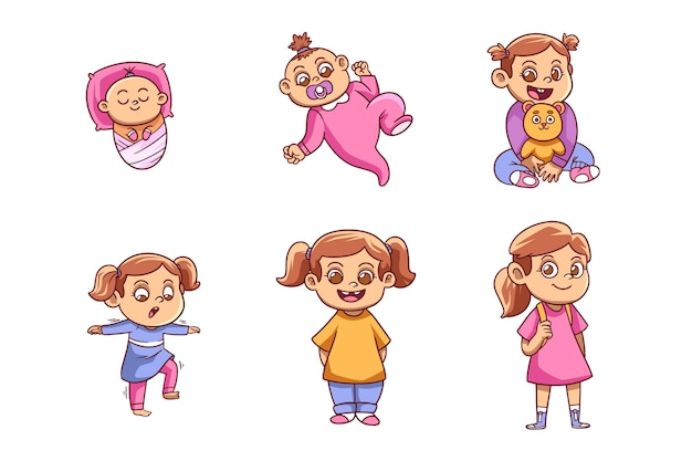 Fasi disegnate a mano di una collezione bambina