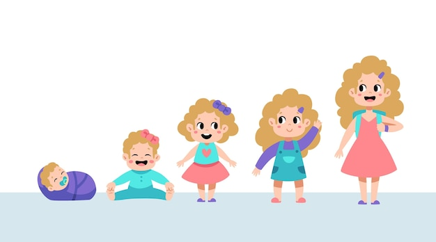Hand drawn stages of a baby girl illustration