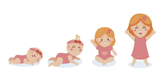 Hand drawn stages of a baby girl set