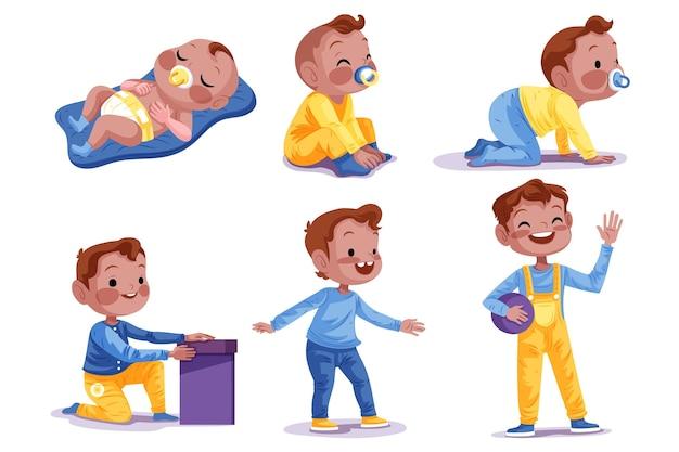 아기 소년 컬렉션의 손으로 그린 단계