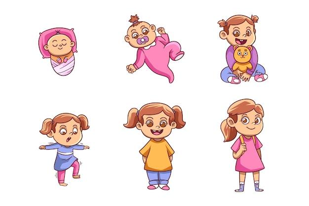 아기 소녀 컬렉션의 손으로 그린 단계