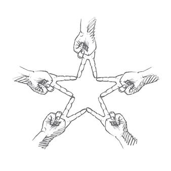 Рисованной звезды пальцы концепции эскиз