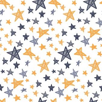 Hand drawn starry seamless pattern