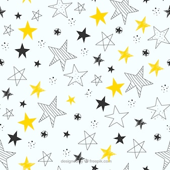 Hand drawn stars pattern background