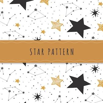 手描きの星のパターン 無料ベクター