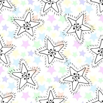 손으로 그린 별 완벽 한 패턴입니다. 섬유 또는 포장 아이 배경