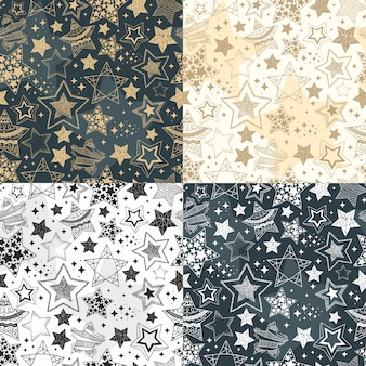 Hand drawn stars seamless patterns. sky background