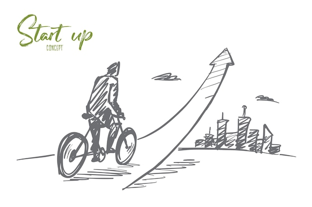 Hand drawn start up concept sketch with young businessman