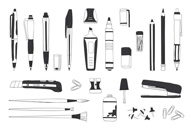 Рисованной канцелярские товары. каракули ручка карандаш и кисть инструменты, эскиз школьных и офисных принадлежностей.